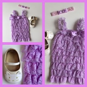 Lavender Ruffled Onsie with Kitty Cat Mary Janes